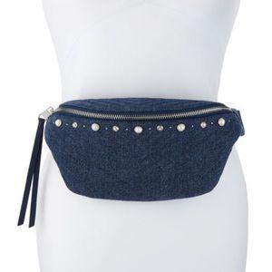 REBECCA MINKOFF Denim Pearly Belt Bag NWT